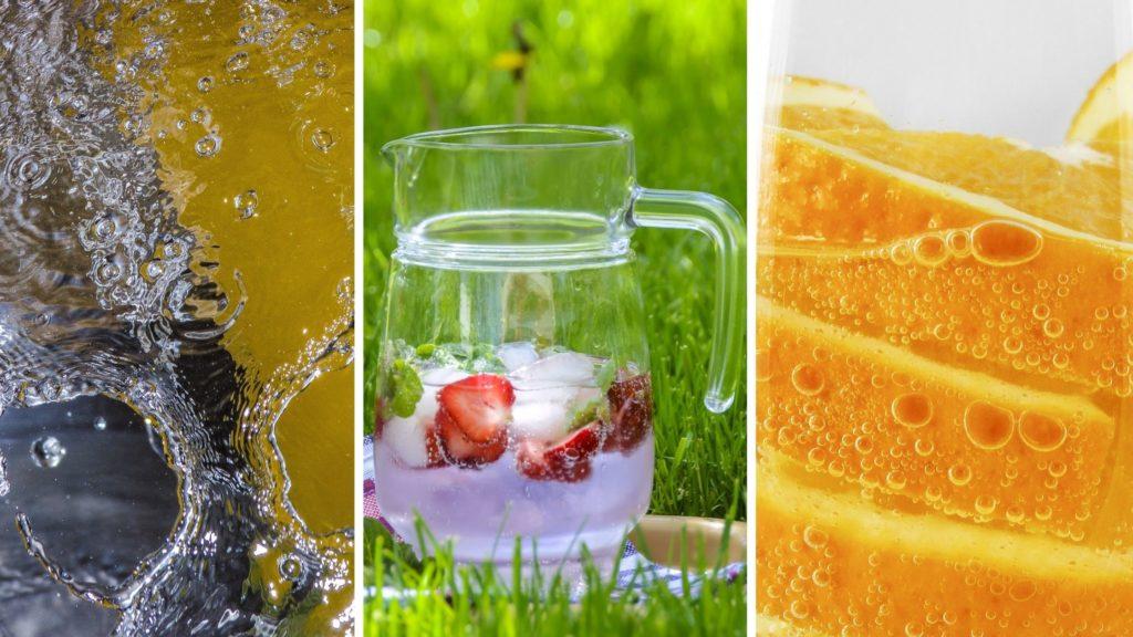 Ásványvíz három képen limonádéként elkészítve, naranccsal, illetve tó formájában